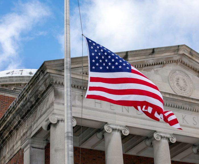 American flag flying in front of Hendricks Chapel